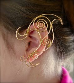 Gold Tone Pair of Elf Ear Cuffs Very Fanciful by jhammerberg