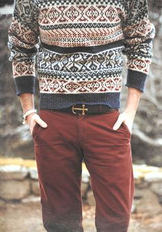 Sweater and anchor belt.