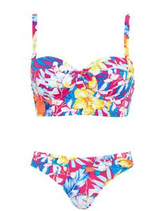 Pour Moi? Ibiza Long Line Underwired Bikini Set in Hot Pink Multi #SS14SWIM #TotallyTropical #figleaves