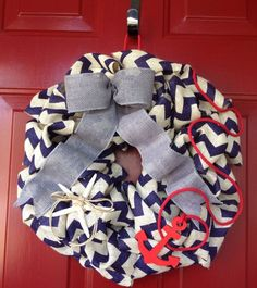 Red and grey wreath | Handmade nautical wreath 16 inch chevron blue and white with gray bow ...