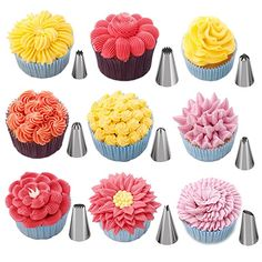 Cake Decoration Tips Set - W-Plus Professional Stainless Steel Piping/Dispenser Nozzle Kit, a Reusable Silicone Pastry Bag and 2 Reusable Coupler for Cakes Cupcakes Cookies Pastry Cupcake Frosting Tips, Icing Tips, Frosting Recipes, Cupcake Cakes, Cupcake Icing Techniques, Cake Cookies, Tea Party Cupcakes, Cupcake Piping, Garden Cupcakes