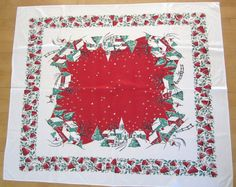 Vintage Christmas Tablecloth Winter Currier & Ives by NeatoKeen