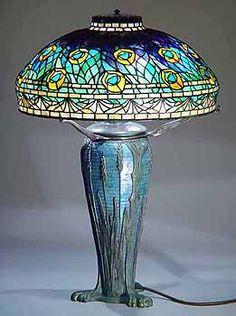 "18"" Peacock Tiffany Lamp #1472  & Wheat Glass Mosaic Urn  #151"