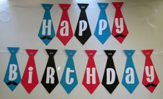 Tie shaped happy birthday banner for a mustache birthday. Turquoise, red, black and white. Can be fully customized. By Banana Lala Party Designs on Etsy. http://www.etsy.com/shop/BananaLala