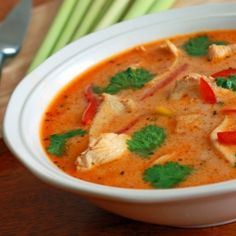 Tom Kha Gai, a delicious Thai chicken soup in a coconut-infused broth and it's GAP friendly! So I can have it.. :)  I'll just swap out the vegetable oil for coconut oil....