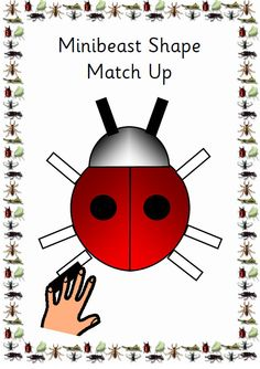 A4 pdf which includes templates of minibeasts made out of 2d shapes plus corresponding coloured shapes to match to the templates. Minibeasts includes are ladybird, butterflies, snails, dragonfly, bee and spider. Just cut and laminate to make a themed, cross curricular matching game. Template bases have captions of minibeast names in Sassoon infant font.