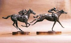 by Jan Sweeney titled: 'Sure Thing and Flying Finish (Racehorses statuettes)'. Horse Sculpture, Modern Sculpture, Bronze Sculpture, Abstract Sculpture, Garden Sculpture, Art Of Man, Sculptures For Sale, Public Art, Horse Racing