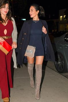 Olivia Munn wearing Stuart Weitzman Highland Topo Suede Boots and Naked Wardrobe Nw Mini Dress in Navy