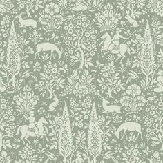 Crown CWV ft Sage Paper Ivy/Vines Unpasted Paste the Paper Wallpaper at Lowe's. With a deep sage hue, this charming woodland wallpaper has an earthy and enchanting style. Deer, horses, and rabbits mingle amongst forest flowers and Tier Wallpaper, Metallic Wallpaper, Wallpaper Samples, Animal Wallpaper, Wallpaper Roll, Pattern Wallpaper, Iphone Wallpaper, Apple Wallpaper, Wallpaper Ideas