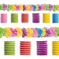 12ft Tropical Paper Lantern Garland Party Decoration