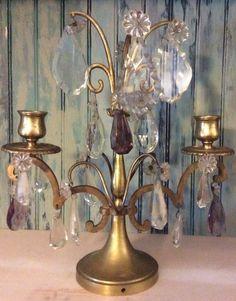Antique Brass Crystal Candelabras Purple Clear Flower Made in France Victorian    eBay