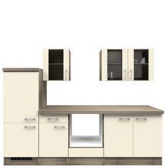 Küchenzeile Lukas - Leerblock - 270 cm - Magnolienweiß - Eiche Dekor