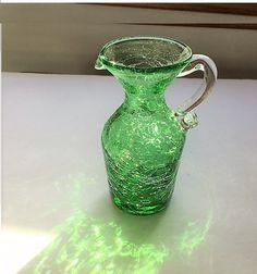 Vintage Green Crackle Glass Pitcher 1970's by TazamarazVintage
