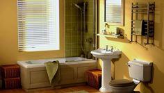 Bathroom Double Chrome Faucet Yellow Walls Paints Scheme Kohler White Cimarron Pedestal Bathroom Sink With Bathroom Wall Decor Ideas Transforming Simple Bathroom Ideas Into Modern Bathroom Interiors - Here's The Result