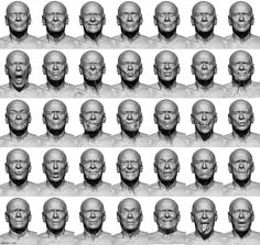 Anatomy 360 — Some older male facial expressions.. High res...