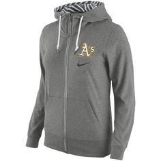 best sneakers 720b8 d875f Womens Oakland Athletics Nike Gray Gym Vintage Full-Zip Hoodie