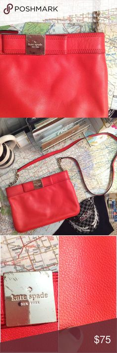Kate Spade Bow Cross Body in Poppy Great condition, only flaws are scratches on the hardware and two tiny needle pricks on the front. Gorgeous soft leather, cute bow detail, perfect interior, large size. 24k gold plated hardware. Color is called Poppy. Chain and leather cross body strap. Questions and offers are welcome! 😊 kate spade Bags Crossbody Bags