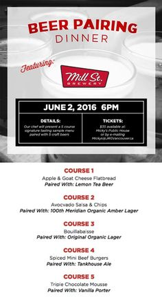 Micky's Public House in Coquitlam Presents a 5 Course Mill St. Brewery Craft Beer Pairing Dinner – June 2nd, 2016