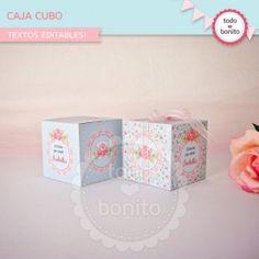 Shabby Chic aqua+rosa: cajita cubo