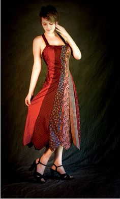 neck tie dress, open up the ties before sewing and use silk ties only.