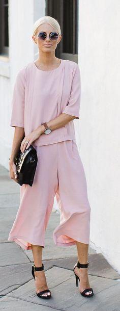 Like The Yogurt Light Pink Culottes And Top Set