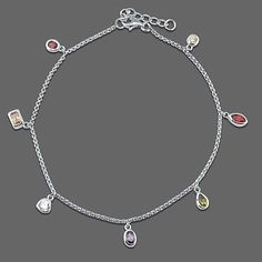 Sterling Silver Anklet Ankle Bracelet in Multicolor Cubic Zirconia CZ from Berricle - Price: $36.99