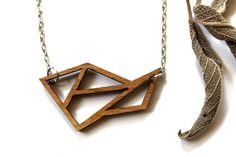 Geometric Wooden Necklace Exotic Walnut by TinyWoodenCactus