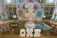 Fantastic pink and gold carousel first birthday party! See more party ideas at CatchMyParty.com!