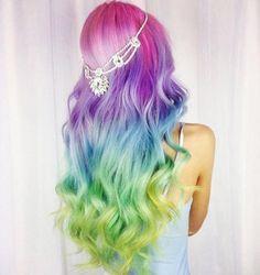 Hair Dye Colors, Hair Color Blue, Cool Hair Color, Purple Hair, Green Hair, Weave Hairstyles, Pretty Hairstyles, Rainbow Hairstyles, Scene Hairstyles