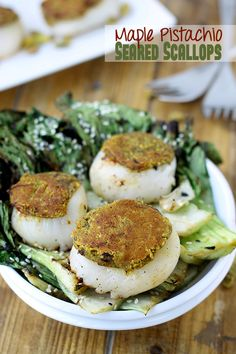 Maple Pistachio Seared Scallops  An easy dinner ready in 10 minutes!-// thehealthymaven.com
