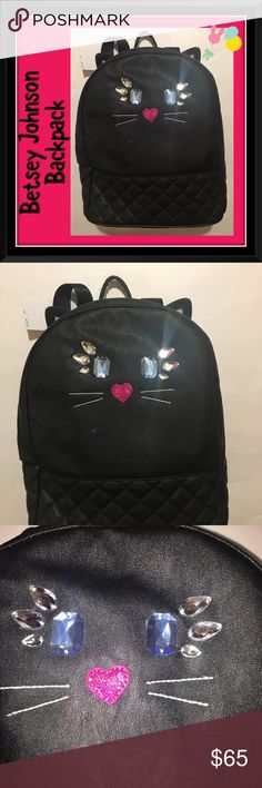 Pretty Black Cat Betsey Johnson Backpack Absolutely gorgeous Betsey Johnson Black cat backpack with jewel stone looking eyes, eyelashes, and sequin nose. Has black handle at top and backpack straps at the back. Black cat ears with pink inside ears! Body and trim is 100% polyurethane. Inside is light gray with white stars. Lining is 100% polyester. Zipper closure. Please see other items in my closet - bundle and save! MSRP $78. Comes from a smoke-free home. Betsey Johnson Bags Backpacks