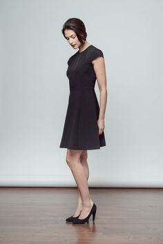 Fit and Flare-cut Greenwich Dress in Black, Side View