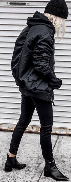 black on black_hat   bomber jacket   skinny jeans   boots