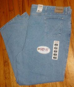 WRANGLER Men's Rugged Wear Light Blue Jeans EASY FIT 58 x 34 NEW with Tags #Wrangler #Relaxed