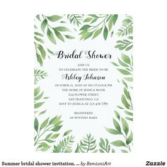 Summer bridal shower invitation. Green leaves Card