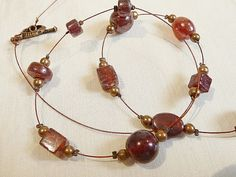 Red Glass Lampwork Beaded Necklace  Dark Red  64cm by BorderBeads, £7.95