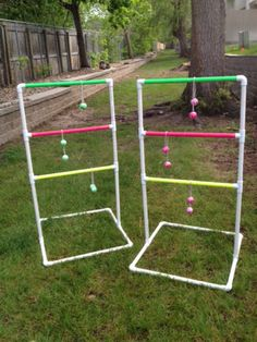 Links to make your own outdoor games! Must do for summer! Diy Yard Games, Lawn Games, Tailgate Games, Camping Games, Outdoor Games, Outdoor Fun, Pvc Pipe Crafts, Outside Games, Christmas Party Games
