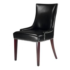 $205.  24.8 inches wide x 22 inches deep .  Safavieh Becca Leather Dining Chair Black