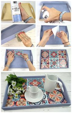 bandeja de madera pintada con por wooden tray painted with by Diy Craft Projects, Diy Home Crafts, Diy Crafts To Sell, Diy Home Decor, Sell Diy, Decor Crafts, Thrift Store Crafts, Tile Projects, Decoupage Furniture