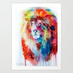 Lion Art Print by Slaveika Aladjova