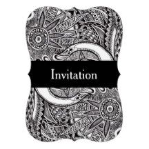 A card decorated with a detailed black and white ornament drawing. Illustrated Wedding Invitations, Black Wedding Invitations, Custom Wedding Invitations, Wedding Invitation Cards, Wedding Cards, Ornament Drawing, White Ornaments, Bridal Shower Cards, Zentangle