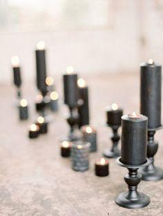 Black romantic candles | Noir Romance: Beautiful shades of black wedding inspiration