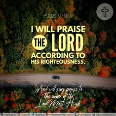 I will praise the Lord according to His righteousness, And will sing praise to the name of the Lord Most High. Psalms 7:17 NKJV Best Bible Verses, Spiritual Needs, Praise The Lords, Righteousness, Psalms, Singing, Spirituality, Names, Spiritual