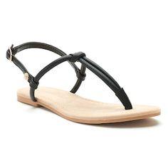 89d94dffc9acf Women s LC Lauren Conrad Basic Knotted T-Strap Sandals Lauren Conrad Shoes