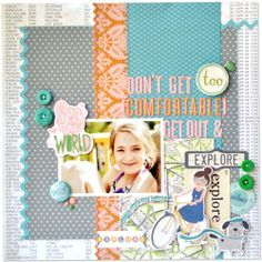 October Afternoon layout using Travel Girl and a stamped image of a Paris map then colored