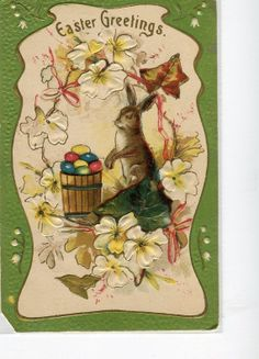 Easter PostCard -  Bunny Rabbit with basket of colored eggs