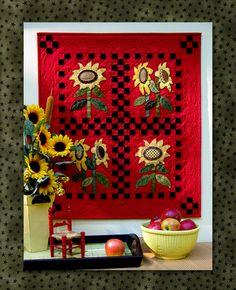 bold background, quilt, bloom pattern, red background