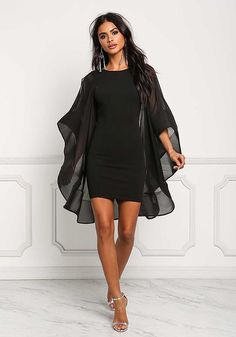 Black Voluminous Bell Sleeve Low Back Bodycon Dress Dressy Fall Outfits, Winter Dress Outfits, Modest Outfits, Short Outfits, Short Dresses, Mexican Dresses, Estilo Retro, Looks Chic, Junior Outfits