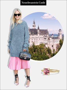 """Travel Outfit: Channel your inner """"princess"""" by wearing a skirt in blush-pink layered under a cozy oversized sweater. Add a rosy-gem ring on your finger—because, well, obviously.   Châtelaine Ring with Pink Tourmaline and Diamonds in 18K Gold, $1,450; at David Yurman (Sponsored)"""