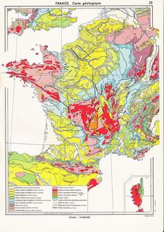 Such a colorful map!  #France #map #geology $12